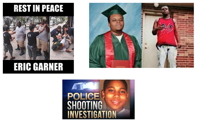 "There are three sets of images. On the upper left, three stages of the fatal encounter between Eric Garner and police. In the first, it is clear that Garner is standing back from a police officer in front of him as one comes up behind him. In the second, the officer behind Garner has wrapped his arm around Garner's neck in a chokehold. The officer in front is holding Garner's arm, apparently to prevent him from removing the chokehold. In the third, Garner is down on the ground with one police officer still choking him and three others handcuffing him. It is at this point that witnesses say he began to repeat ""I can't breathe."" The text says ""Rest In Peace Eric Garner."" All of these pictures of the encounter show how big Garner's body was (quite large compared with those standing next to him). In the second set of images, on the upper right, we see two pictures. One shows Michael Brown in his high school graduation picture months before he was shot. His gown is forest green and he has a serious expression on his face. In the second picture, he is wearing a red sleeveless t-shirt and jeans. The t-shirt says Nike Air, and his face is serious. He is standing on the front porch of a house. Both pictures show that he was a large-bodied, though not morbidly obese, young man. In the final image, below the others, we see a photo of Tamir Rice, 12 years old, smiling at the camera. The text is as though the image were taken from a newscast, and says ""Police Shooting Investigation."""
